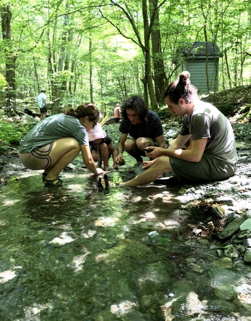 Four people sitting in a stream